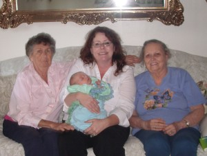 Grandma Smith and Grandma June with me and Little Sir.